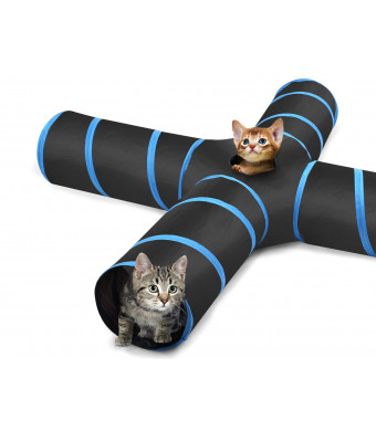 PAWABOO Cat Tunnel, Premium S-Shaped / 3-Way / 4-Way / 5-Way Tunnels Extensible Collapsible Cat Play Tunnel Toy Maze Cat House with Pompon and Bells for Cat Puppy Kitten Rabbit