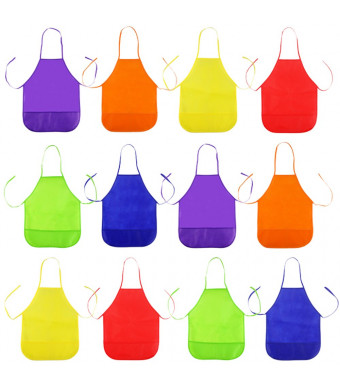 Octter 12pcs Kids Art Aprons Children Painting Aprons with 2 Pockets for Craft, Kitchen, Classroom, Community Event and Painting Activity (6 Colors)