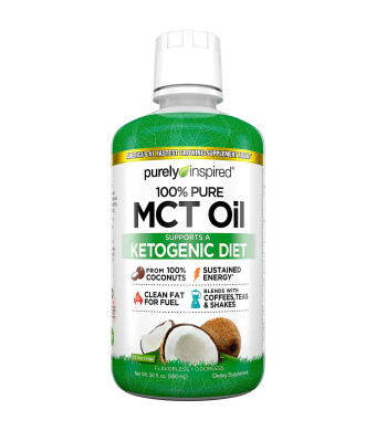 Purely Inspired 100% Pure MCT Oil, Sourced from Coconut, Supports Keto and Paleo Diets, Non-GMO, Gluten Free, Unflavored, 63 Servings (32oz)