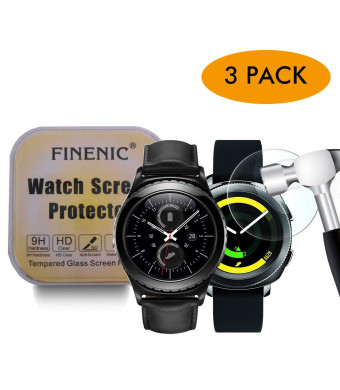 FINENIC [3 Pack Screen Protector for Samsung Gear S2 Classic/Gear Sport smartwatch [Tempered Glass] [No White Edge][Easy-Install] ...