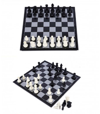 Elloapic International Chess Set Folding Standard Chess Game Board Set with Crafted Chess 4812B-C