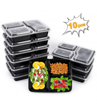 Meal Prep Containers, 10 Pack Premium Quality Meal Prep Plastic Microwavable Food Containers for adults (BPA free Food Grade /Freezer/Dishwasher Safe) (advanced) (Upgraded)