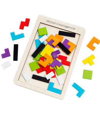 Buself Wooden Tetris Puzzle Brain Teasers Game and Intelligence Toy with 40pcs Vivid Color and Eco-Material for Kids and Adults, Birthday and Christmas Gift Choice