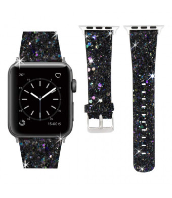 Compatible with Apple Watch Band 38mm 40mm 42mm 44mm, Leather iWatch Strap Extreme Deluxe Bling Glitter Bracelet Wristband Apple Watch Series 4 Series 3 Series 2 Series 1 Sport Edition (Black, 38mm)
