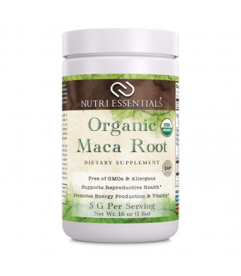 Nutri Essentials Organic Maca Root Powder 16 Oz - Supports Reproductive Health - Supports Energy Production and Vitality