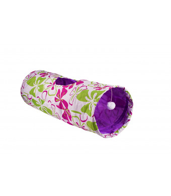 Meowzar Floral Cat Tunnel- Collapsible Crinkle toy made for large cats!
