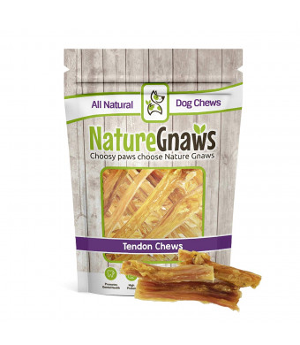 "Nature Gnaws Tendon Bites 2-4"" (24 Count) - 100% Natural Grass Fed Beef Chews Small Dogs"