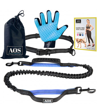 Hands Free Leash | for Running, Walking, Jogging, Training and Hiking | Running Dog Leash with Adjustable Waist Belt and Double Handles Bungee | for Medium and Large Dogs + Pet Grooming Glove (blue)