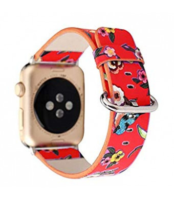 Winso Floral Band for Apple Watch 42mm, Flower Pattern Printed Leather Replacement Strap for iWatch Series 3/2/1 (Flower and Bird,Red 42mm)