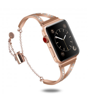 Compatible Apple Watch Bands 38mm, Bling Apple Watch Classic Cuff Bracelet Stainless Steel Replacement Wristband Strap for Apple Watch Nike+, Series 3, Series 2, Series 1, Edition (Copper,38mm)