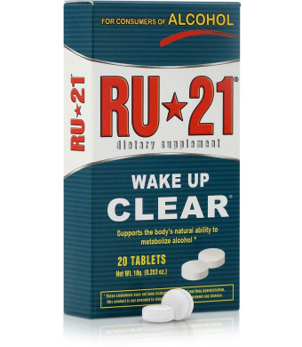 RU-21 Wake Up Clear After Drinking, Supports The Body's Ability to Metabolize Alcohol (20-Pill Pack)