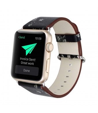 Ladies Flower Bracelet for iWatch,Vintage Floral Prints Wrist Soft Leather Replacement Band for Apple Watch 38mm 42mm Series 1 Series 2 Series 3 and All Versions (Black Marble, 38mm)