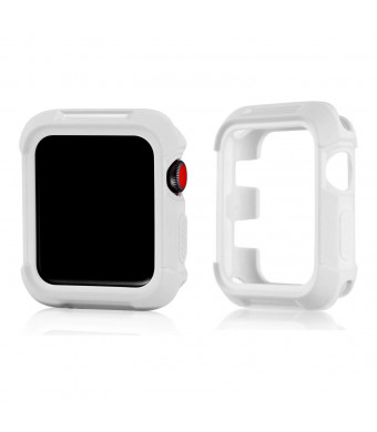 Compatible Apple Watch Bumper 38mm, MAIRUI Rugged Protective Cover Case Protector for Apple Watch Series 3/2/1, iWatch Sport, Edition, Nike+ (White)