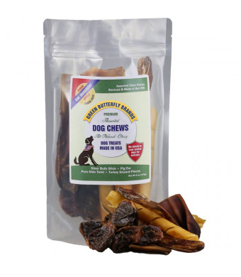 Green Butterfly Brands Assorted Dog Chews  All Natural, Chewy Dog Treats Made in USA  Pig Ear, Bully Stick, Pork Hide Twist Pieces and Turkey Gizzard Assortment Pack  One Ingredient Chews - Dogs Love