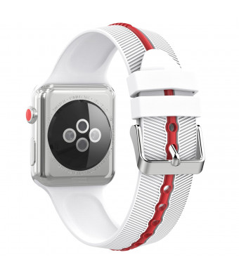 MoKo Compatible Band Replacement for Apple Watch 42mm 44mm Serier 4/3/2/1, Soft Silicone Arrow-Shaped Double Color Replacement Strap - White + Red (Not fit 38mm 40mm Versions)