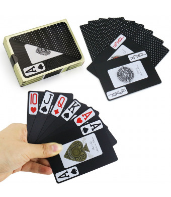 Joyoldelf Waterproof Playing Cards, PVC Legible Poker Deck of Cards with Gift Box, Perfect for Home Party and Outdoor Activities