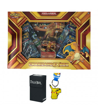 Pokemon Charizard EX Fire Blast Premium Collection Box with Charizard EX Promo Card, Oversized Jumbo Charizard EX Card, 4 Pokemon Booster Packs, Pikachu Keychain and Ultra Pro Deck Box Bundle
