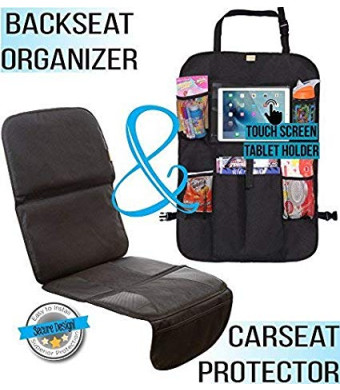 Zohzo Car Seat Protector and Back Seat Organizer/Kick Mat Bundle - Child and Infant Baby Seat Protectors