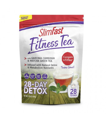 SlimFast Fitness Tea All Natural 28 Day Detox with Garcinia, Matcha Green Tea and Metabolism Nutrients