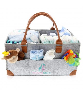 Baby Diaper Caddy Organizer - Extra Large Storage Nursery Bin for Diapers Wipes and Toys | Portable Diaper Tote Bag for Changing Table | Boy Girl Baby Shower Gift Basket | Newborn Registry Must Haves