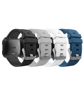 """MoKo Fitbit Versa Band for Women Men, [4 Pack] Premium Soft Silicone Watch Band Replacement Strap Band Bracelet for Fitbit Versa Fitness Wristband, Fits 5.11""""-7.68"""", Multi Colors C"""