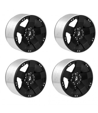 "4Pcs Aluminum Alloy 2.2"" Beadlock Wheel Rims Hubs 12mm Hex Heavy Duty Version for 1/10 RC Axial Wraith Series (Black)"