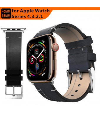 tagcmc Compatible with Apple Watch Band 38mm 40mm, Genuine Leather Watch Strap Compatible with Apple Watch Series 4 (40mm) Series 3 Series 2 Series 1 (38mm) Sport and Edition