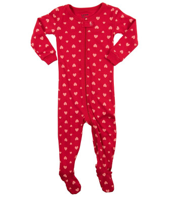 Leveret Baby Girls Footed Pajamas Sleeper 100% Cotton Kids and Toddler Pjs (3 Months-5 Toddler)