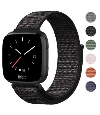 Shangpule Compatible Fitbit Versa Bands, Replacement Woven Nylon Sport Watch Band Bracelet Strap Hook and Loop Fastener Adjustable Wristbands Compatible Fitbit Versa Smart Watch(Black)