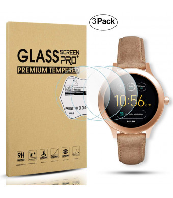 Diruite 3-Pack for Fossil Q Venture Gen 3 Screen Protector, 2.5D 9H Hardness Tempered Glass Screen Protector for Q Venture Smart Watch - Permanent Warranty Replacement