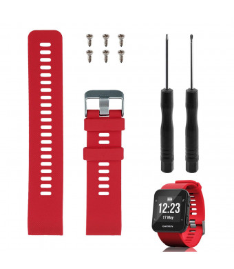 """Band Replacement for Garmin Forerunner 35, Rukoy Soft Silicone Replacement Watch Band Strap for Garmin Forerunner 35 Smart Watch, Fit 5.56""""-7.96"""" (139mm-199mm) Wrist Band Replacement for Garmin(Red)"""
