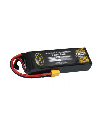 Scorpion LiPo Battery Pack 2800mAh 75C 4S 14.8V with XT60 Plug for RC Car Boat Truck Heli Airplane