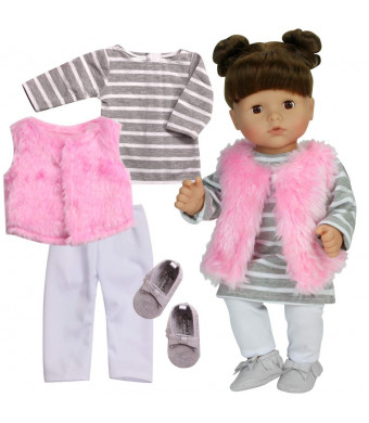 "Sophia's 4 Pc. Doll Clothes of 15"" Baby Doll Outfit with Stripe T-Shirt Dress, Pink Shaggy Vest, White Leggings Set, Vest and Gray Suede Moccasins of Baby Doll Shoes 
