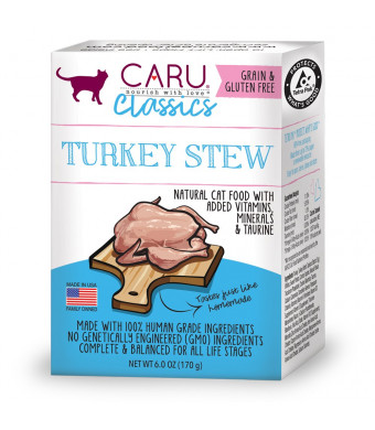 Caru - Turkey Stew For Cats, Natural Cat Food With Added Vitamins, Non-Gmo Ingredients, Complete And Balanced For All Stages Of Life (6 Oz)