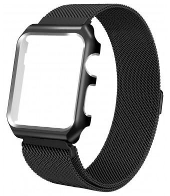 Aifulo Compatible Apple Watch Band 42mm, Adjustment Milanese Loop Stainless Steel Mesh Magnetic Replacement Wrist Band with Metal Protective Case for Apple Watch 42mm Series 1 Series 2 Series 3-Black