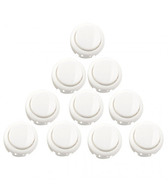 Gamelec 10 Pcs Arcade 30mm Push Buttons Perfect Replacement for Sanwa OBSF-30 OBSC-30 OBSN-30 Push Buttons,Arcade Fighting Game DIY Kits Parts for PC,Raspberry Pi and Mame Jamma Games (White)