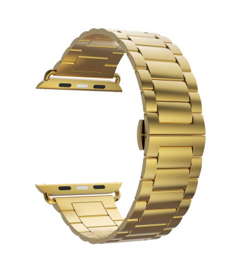 iiteeology Ultra Thin 2.0mm Stainless Steel Replacement Band Compatible iWatch Series 4/3/2/1 (42mm/44mm Series 4 Gold)