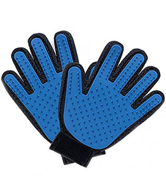 Axl and Beaux's Pet Grooming Glove - Gentle Deshedding Brush Glove - Efficient Pet Hair Remover Mitt - Perfect for Dogs, Cats and Horses (2 Pack - Blue) - FREE MICROFIBER TOWEL