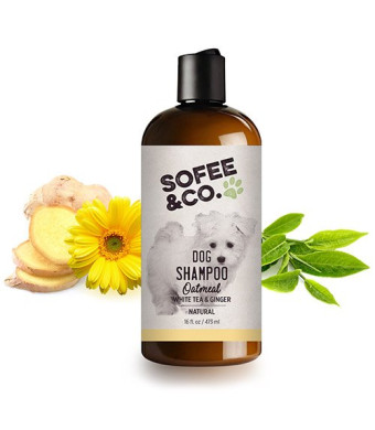 Sofee and Co. New Natural Oatmeal Dog Shampoo, White Tea and Ginger  Clean, Moisturize, Soothe, Soften Normal Dry Itchy Allergy Sensitive Skin. Deodorize and Freshen. 16oz