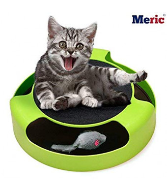 Cat Scratcher - Textured Scratch Pad - Interactive Spinning gadget with a Mouse Toy Inside - Saves Furniture and Household Items - Pet-safe with Non-Slippery Pads - Satiates Scraping instinct