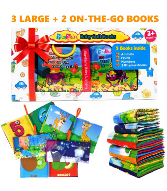 PlayShire Soft Books for Babies. 5 Cloth Books for Babies. Non-Toxic Newborn Books. Crinkle Books for Infants and Toddlers. Interactive Soft Baby Books Set. Touch and Feel Books Toy