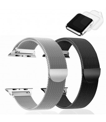 (2 Pack) RandB Watch Band 38mm 40mm Milanese Loop Mesh Strap Designed for iWatch Series 4 3 2 1 Bands 38mm 40mm Silver and Black (New Version) - 2xScreen Protector As Gift