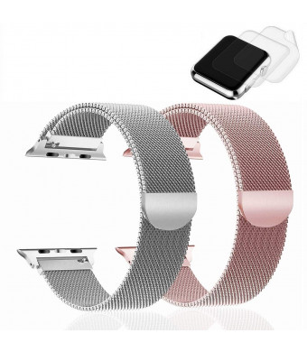 (2 Pack) RandB Watch Band 38mm 40mm Milanese Loop Mesh Strap Compatible for iWatch Apple Watch Series 4 3 2 1 Bands 38mm 40mm - 2xScreen Protector As Gift