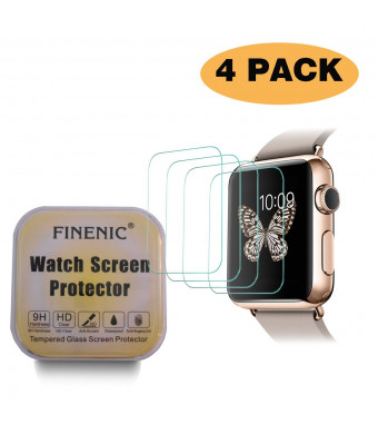 FINENIC (4 Pack) Screen Protector Compatible Apple Watch 38mm (Series 1 / Series 2 / Series 3) Glass Screen Protector - FINENIC Anti-Bubbles, Scratch Resistant [Only Covers The Flat Area]