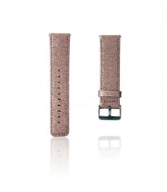 Thankscase Bands for Fitbit Versa, Genuine Leather Replacement Band with Beautiful Embossed Pattern for Fitbit Versa SmartWatch, Large and Small. (Rose Gold)