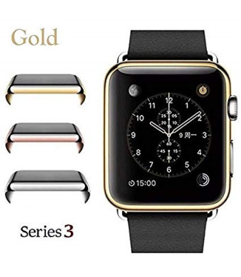 Josi Minea iWatch 3 [42mm] Protective Snap-On Case with Built-in Clear Screen Protector - Anti-Scratch and Shockproof Thin HD Shield Cover Guard Compatible with Apple Watch Series 3 [ 42mm - Gold ]
