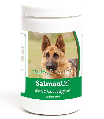 Healthy Breeds Salmon Oil Soft Chew Supplement - Over 200 Breeds - Reduce Shedding Support Skin and Coat - Formulated Omega 3 and 6, EPA, DHA - 90 120 Tasty Chews