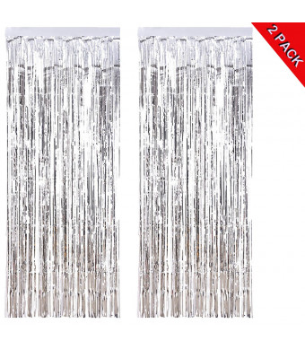 ANREONER 2 Pack Shiny Photo Backdrop, 3.2 ft x 9.8 ft Metallic Tinsel Foil Fringe Curtain Background for Birthday Party Prom Wedding Christmas Decoration, Best Xmas Supplies and Accessories-Silver