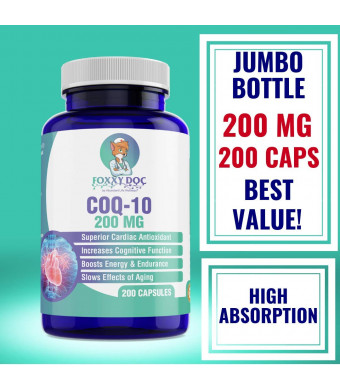 CoQ10-200 mg - 200 Caps - Pure and High Absorption - 6.5 Month Supply Heart and Cellular Energy