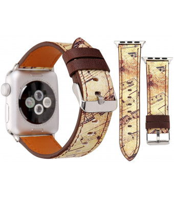 Painted Design for Apple Watch Band 38/40mm 42/44mm Soft PU Leather Painted Floral Musical Style Replacement Strap with Stainless Steel Classic Buckle for iwatch Series4/3/2/1(Brown-note-38/40mm) ...